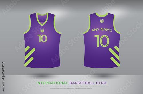 c7f26d0e2610 basketball t-shirt design uniform set of kit. basketball jersey template.  purple and