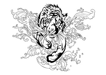 silhouette trier run and jump in splash river with oriental ornament tribal ink drawing tattoo  vector with white isolated background
