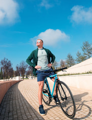 stylish man riding a Bicycle