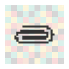 Vector pixel icon clip on a square background