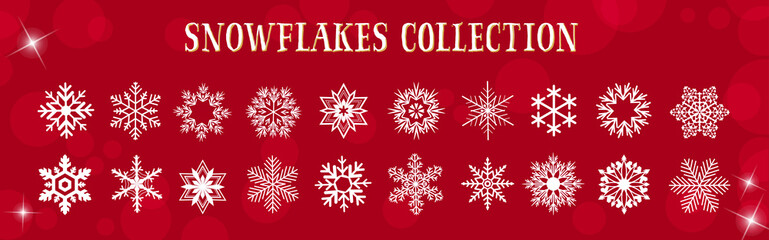 Fototapeta White Snowflakes Winter & Merry Christmas Vector Set