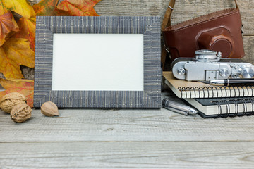 classic camera, notebooks, fountain pen, empty photo frame on wooden background with dried vibrant leaves
