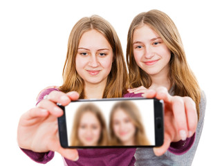 Smiling young sisters taking selfie