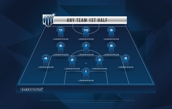 football league or world tournament broadcast substitues graphic template design, football substitues broadcast graphic for soccer starting lineup squad blue color