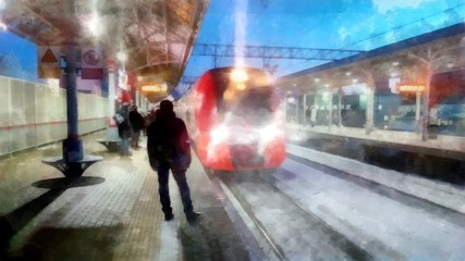 Winter landscape in gloomy day. A bright red train arrives on a snow-covered platform