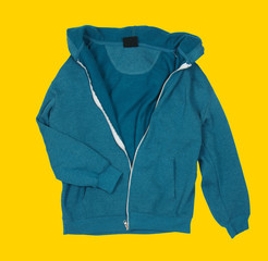 Sporty jacket on yellow baclground
