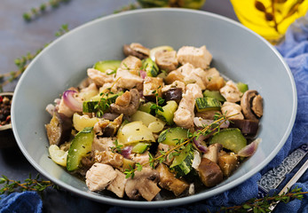Delicate slices of chicken fillet with zucchini and mushrooms stewed with Italian herbs. Healthy eating. The right way of life.