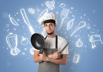 Young cook with chalk drawn soup recipe concept