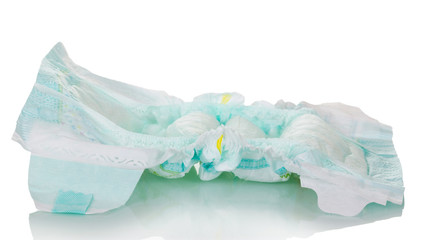 The used disposable diaper is isolated on white background.