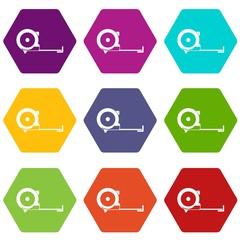 Construction roulette icon set color hexahedron
