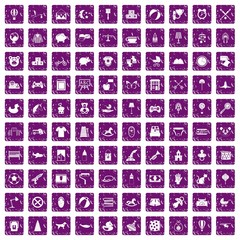 100 nursery icons set grunge purple