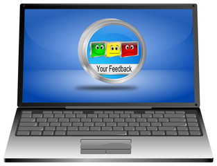 Laptop Computer with Your Feedback Button - 3D illustration