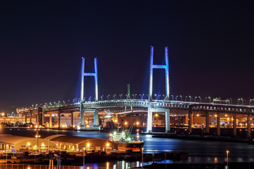 Nightview of Yokohama Baybridge (横浜ベイブリッジ夜景) in Kanagawa, Japan.
