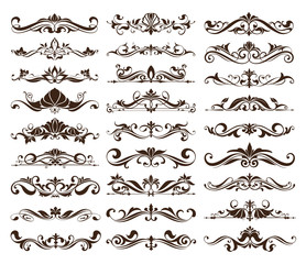 Vintage ornaments design elements floral curlicues white background curbs frame corners stickers decoration on white background.