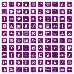 100 paint school icons set grunge purple