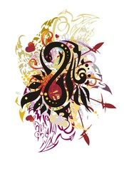 Grunge colorful number eight splashes with red hearts. Abstract stylized number 8 formed by a snake with floral elements, arrows and linear patterns