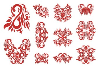 Stylization of figure eight and symbols from her. Tribal abstract number 8 formed by a snake with floral elements, decorative symbols from her