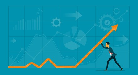 flat  business man direction graph and business finance  concept