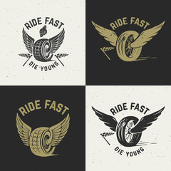 Ride fast die young. Hand drawn wheel with wings on grunge background.