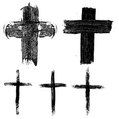 Set of hand drawn crosses. Religious symbols.
