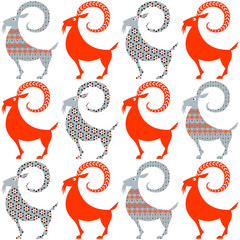 Scandinavian traditional Christmas decoration. Yule Goats with different patterns. Seamless background pattern.