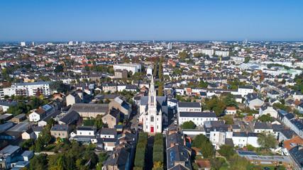 Photo aérienne de l'église Sainte Anne, à Nantes