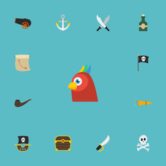Flat Icons Banner, Bottle, Armature And Other Vector Elements. Set Of Piracy Flat Icons Symbols Also Includes Bird, Spyglass, Sabre Objects.