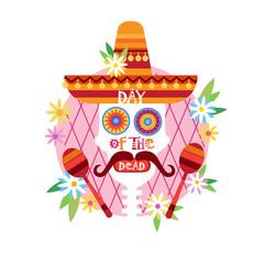 Skull Day Of Dead Concept Traditional Mexican Halloween Dia De Los Muertos Holiday Party Decoration Banner Invitation Flat Vector Illustration