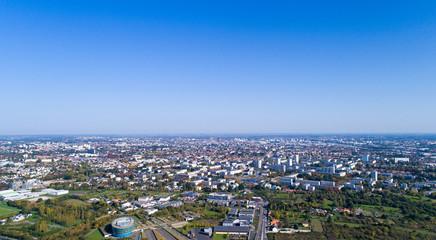 Panorama aérien de la ville de Nantes, en Loire Atlantique