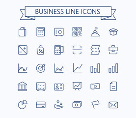 Business,finance vector thin line mini icons set. 24x24 Grid. Pixel Perfect.Editable stroke.