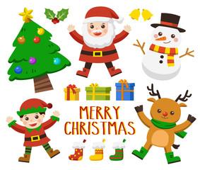 Set of Happy Merry Christmas.Christmas character set [Deer, Santa, Elf ,Tree and snowman]