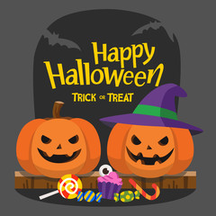 Happy Halloween and Trick or Treat Party. Pumpkins with candy under the moonlightTemplate for advertising brochure.