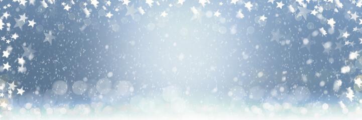 Schneesterne und Schneeflocken für Weihnachten - Banner | Hintergrund