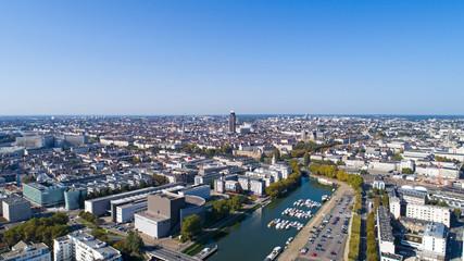 Photographie aérienne du centre-ville de Nantes