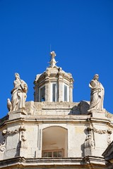 Front view of Providenza Chapel dome and statues, Tal Providenza, Malta.