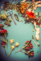 Autumn flowers on florist table with ribbon and scissors on blue background, top view, frame. Autumn Bouquet making preparation