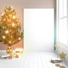 Modern Christmas interior of Scandinavian style with shining lights Christmas tree. 3D illustration. poster mock up