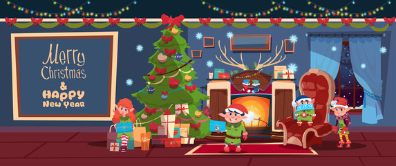 Merry Christmas And Happy New Year Greeting Card With Elfs Near Fireplace Concept Winter Holiday Banner Flat Vector Illustration