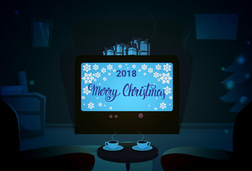 Screen With Empty Chairs, Merry Christmas And Happy New Year Winter Holiday Concept Banner Flat Vector Illustration