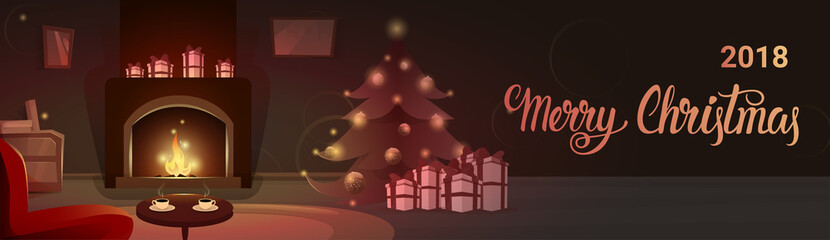 Decorated Pine Near Fireplace With Empty Chairs, Merry Christmas And Happy New Year Winter Holiday Concept Banner Flat Vector Illustration