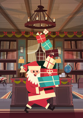 Merry Christmas And Happy New Year Greeting Card Santa Holding Present Stack Winter Holidays Concept Banner Flat Vector Illustration