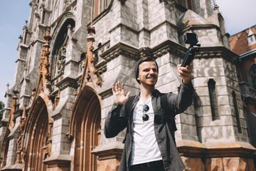 A tourist in city