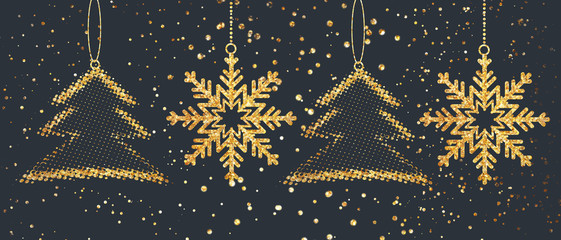 Merry Christmas and Happy New Year gold glitter snowflakes background. .Xmas holiday greeting card backdrop.