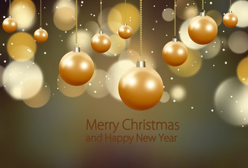 Happy New Year and Merry Christmas gold glitter party background. .Holiday xmas festive greeting card backdrop.