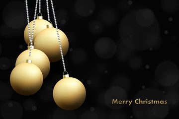 Merry Christmas and Happy New Year gold baubles background. .Xmas holiday greeting card backdrop.