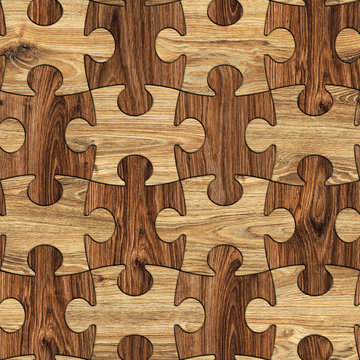 Puzzle Wood Seamless Background, Puzzled Brown Wooden Grained Texture