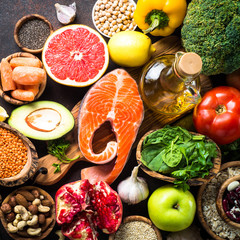 Balanced diet food background. Organic food for healthy nutrition, superfoods. Meat, fish, legumes,...