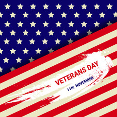 Veterans Day Celebration National American Holiday Banner With Usa Flag Vector Illustration