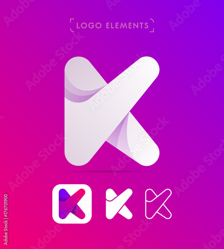 vector abstract letter k logo template material design and flat