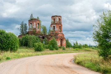 Ruined Church of the Kazan icon of the Mother of God. The  Village Of Russian Noviki. Valday district, Novgorod region, Russia